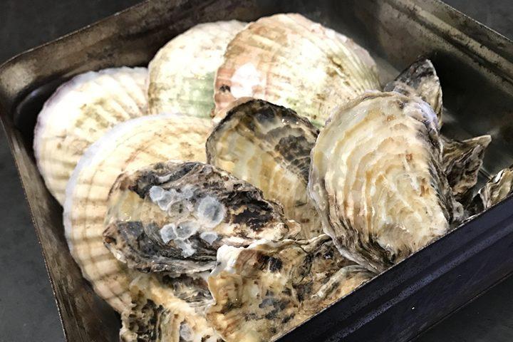 牡蠣と帆立のガンガン焼き